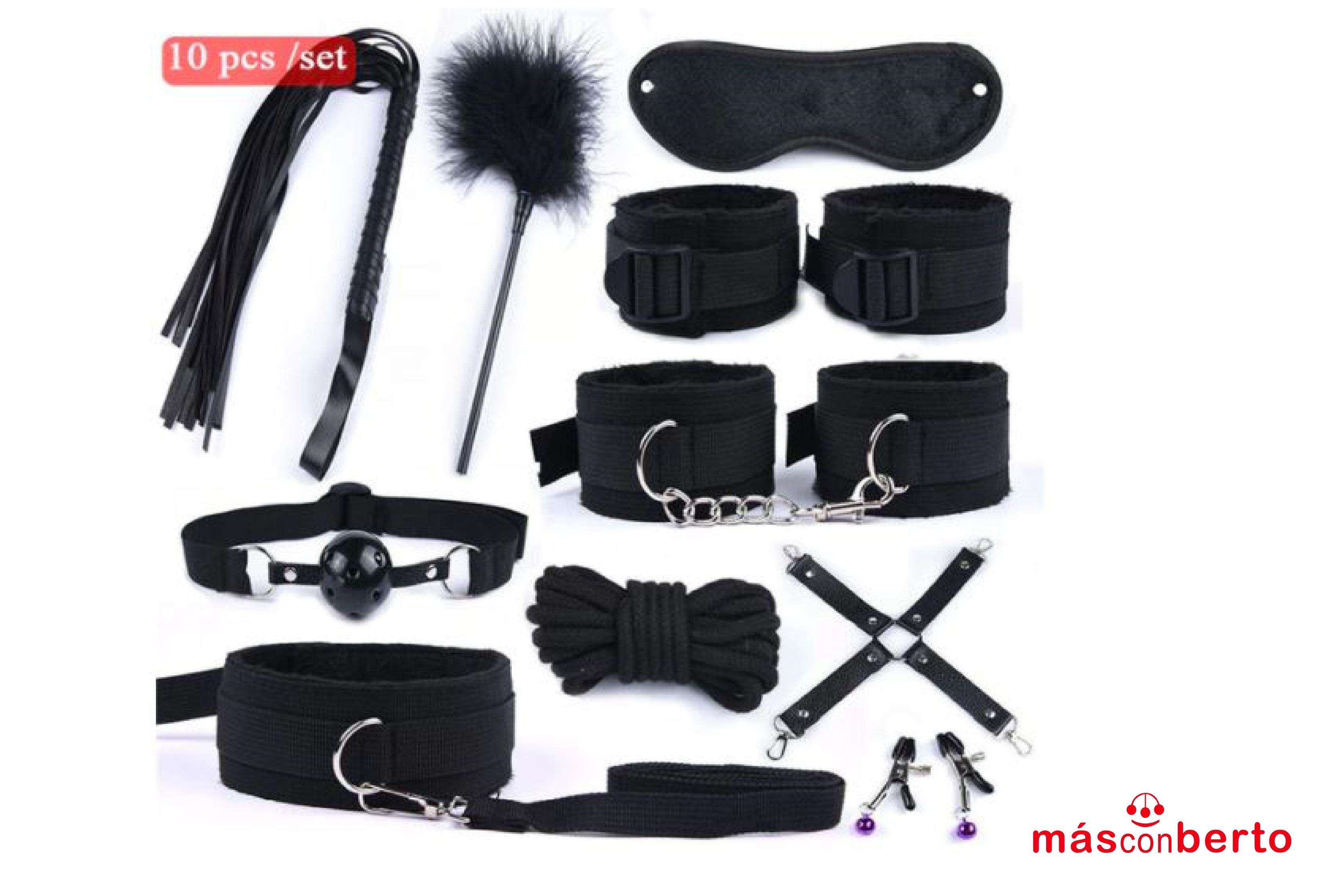Kit de Bondage 10Pcs Negro