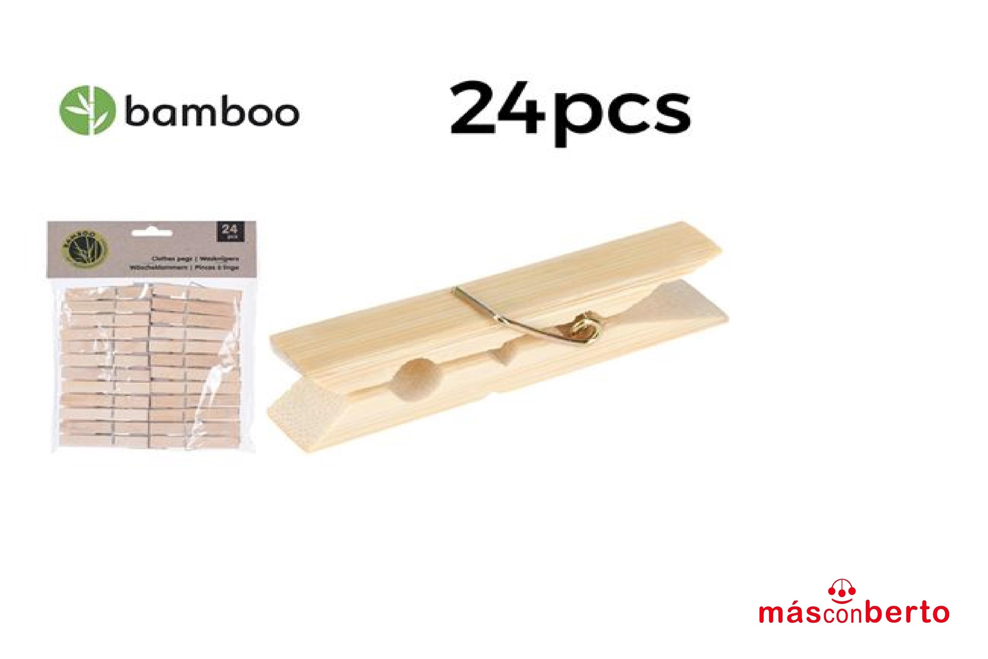 Pack 24 pinzas Bambú C-76508