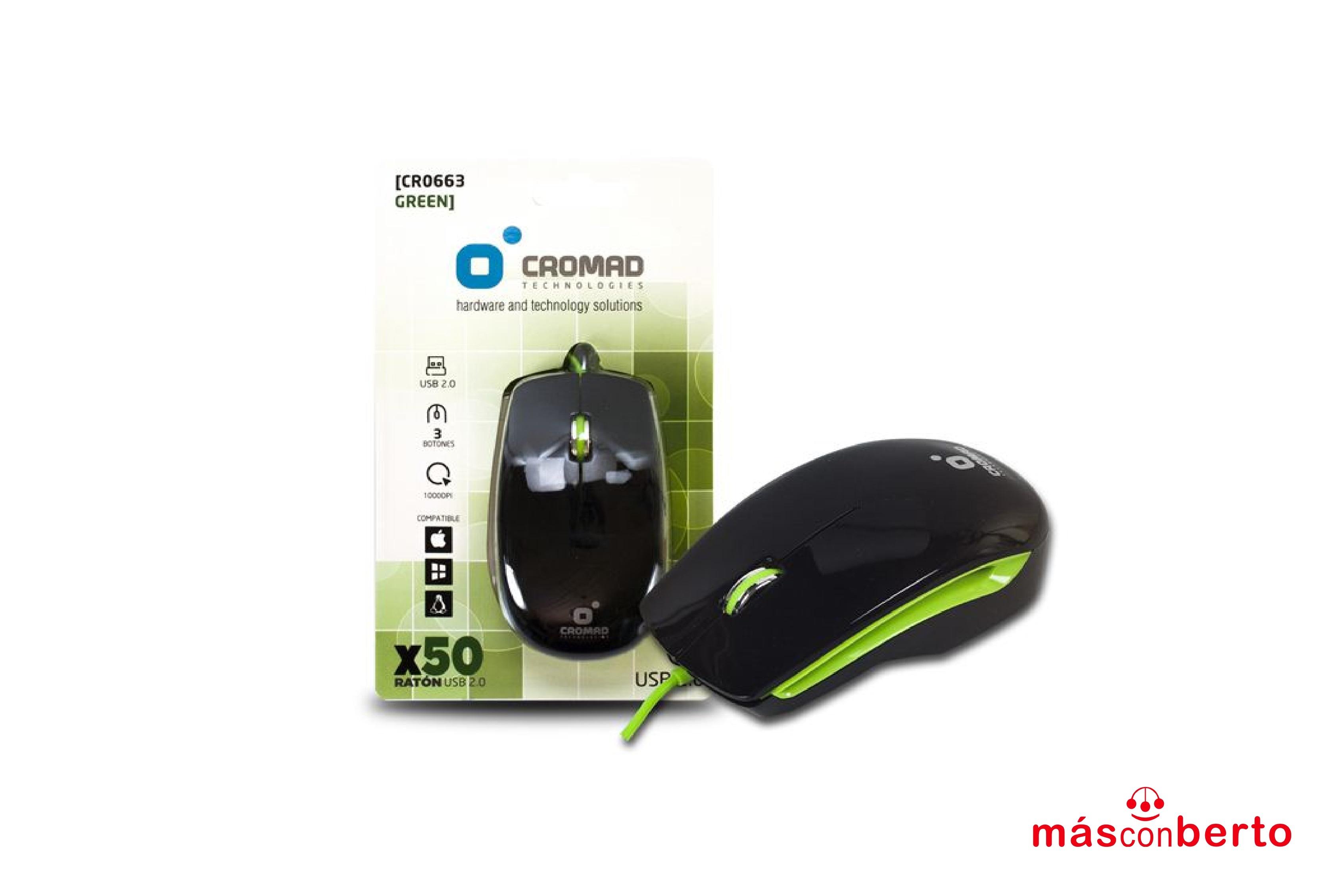 Ratón X50 USB negro/verde...