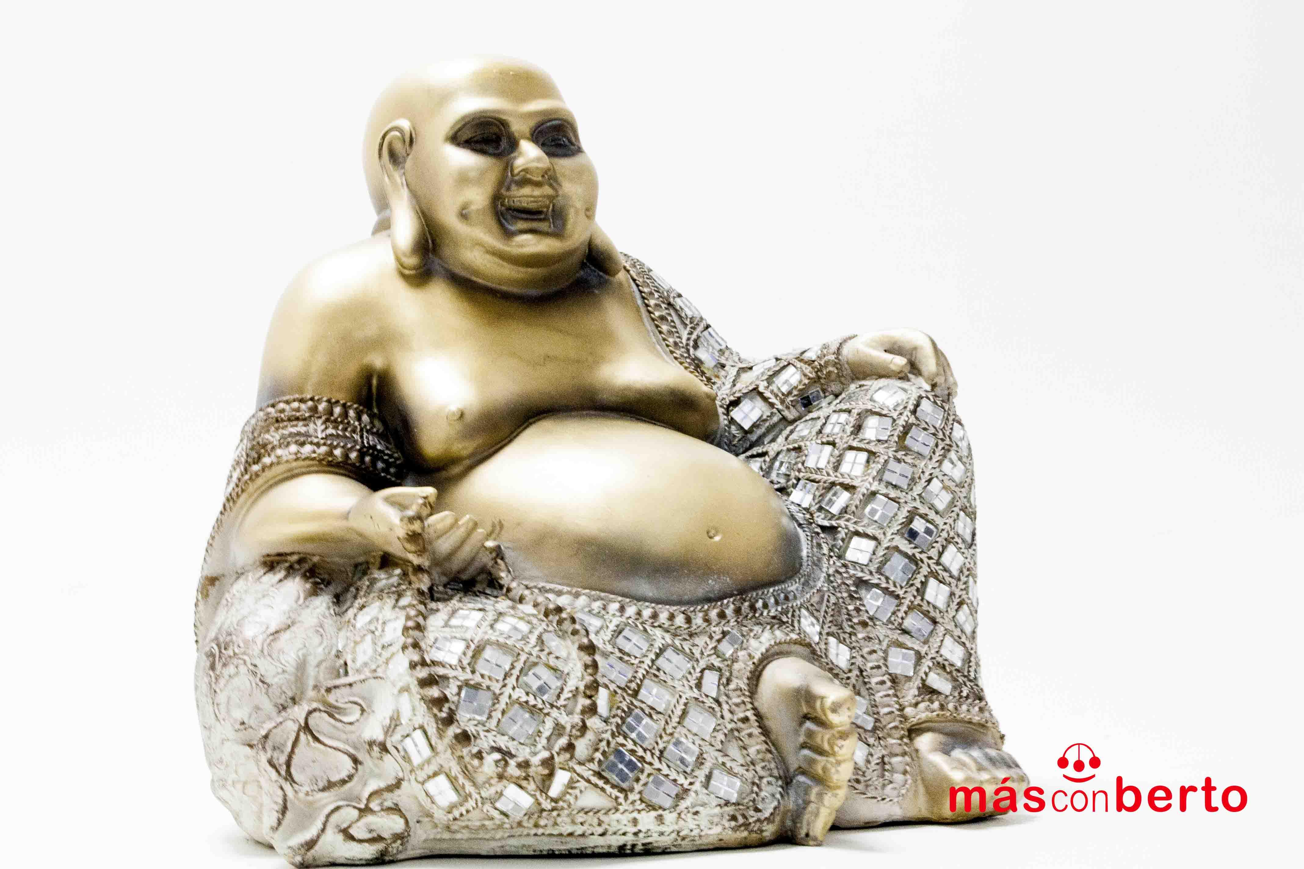 Buda sentado dorado cristales